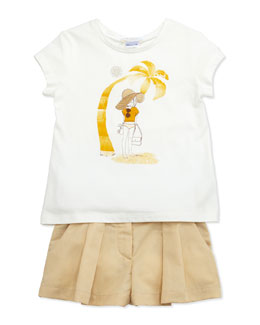 Chloe Chloe Girl Jersey Tee & Pleated Twill Shorts