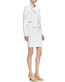 Ralph Lauren Black Label Ribbed Knit and Leather Moto Jacket & Sleeveless Sheath Ribbed Dress