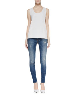 Victoria Beckham Denim Perforated-Panel Sleeveless Sports Top & Deconstructed Super Skinny Denim Jeans