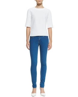 Victoria Beckham Denim Japan Half-Sleeve Top & Super Skinny Denim Jeans
