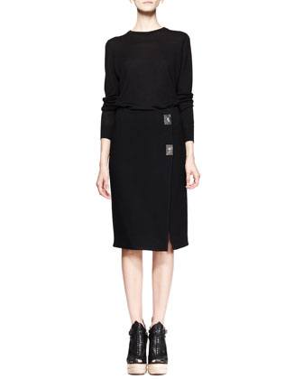 Long-Sleeve Merino Pullover and Turn-Lock Pencil Skirt