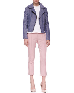 Victoria Beckham Denim Twill Biker Jacket, Sleeveless Top & Seamed Cropped Chinos