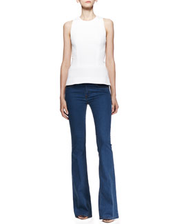 Victoria Beckham Denim Sleeveless Fitted Round-Neck Top & Flare-Leg Jeans