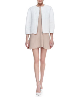 Victoria Beckham Denim Boxy Textured Utility Jacket and Sleeveless Paneled Overlap Dress