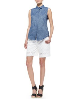 Victoria Beckham Denim Sleeveless Chambray '50s Top & Eyelet Drawstring Bermuda Shorts