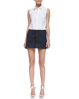 Victoria Beckham Denim Sleeveless 50s Shirt & Front-Vent Basket Weave Skort