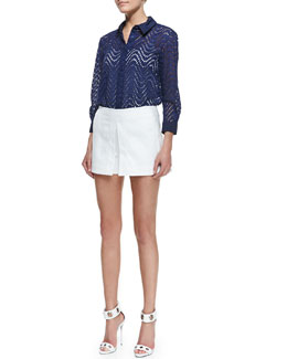 Victoria Beckham Denim Wavy-Cutout Basic Blouse & Front-Pleat Wide-Leg Shorts