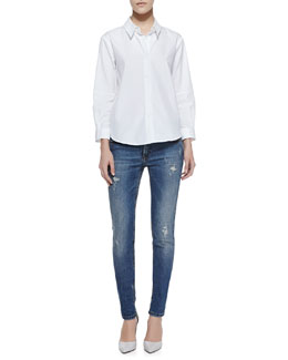 Victoria Beckham Denim Basic Long-Sleeve Cotton Blouse & Deconstructed Super Skinny Denim Jeans