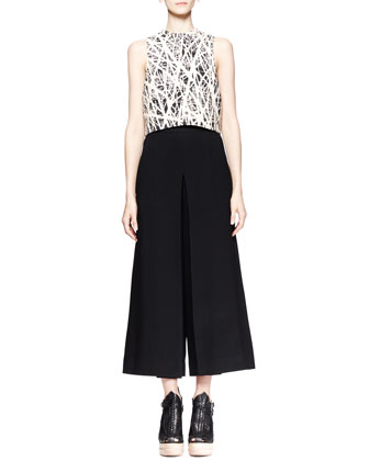 Branch-Print Crop Top and High-Waist Gaucho Pants
