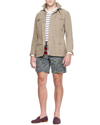 Twill Military Jacket, Long-Sleeve Striped Tee & Striped/Printed Swim Shorts
