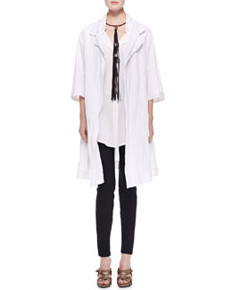 Donna Karan 3/4-Sleeve Long Topper, Cap-Sleeve Cotton Top with Pocket, Seamed Leggings & Leather Tassel Choker Necklace
