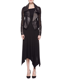 Donna Karan Asymmetric Cropped Zip Jacket & Long Twist Drape Dress, Black