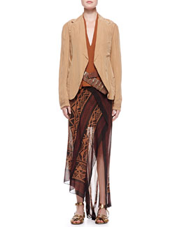 Donna Karan Trompe l'Oeil Jacket, Sleeveless Draped Blouse, Printed Scarf Skirt & Leather Bracket Belt