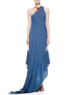 Donna Karan Double Layer One-Shoulder Gown & Two-Piece Puzzle Choker Necklace