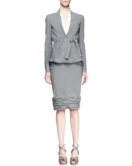 Donna Karan Belted Linen Suiting Jacket, Sleeveless Plunging Poplin Bodysuit & Crush-Bottom Skirt