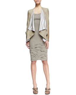 Donna Karan Draped Lambskin Leather Jacket & Cap-Sleeve Linen-Blend Dress