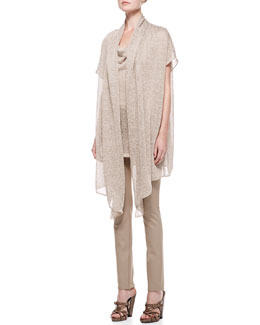 Donna Karan Draped Top with Twisted Straps/Short Sleeve Draped Cozy & Straight Leg Body II Pants