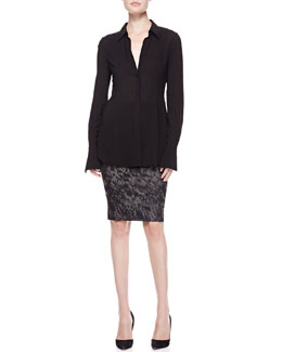 Donna Karan Long Sleeve Tunic & Tube Skirt with Fold-Over Waist
