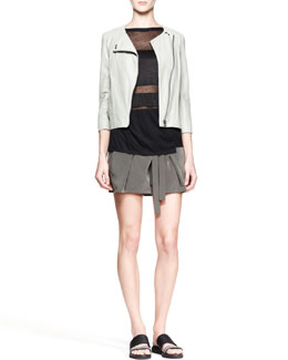 Helmut Lang Oxum Collarless Leather Jacket, Horizon Striped Combo Top & Terra Belted Pleat Shorts