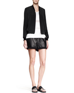 Helmut Lang Terra Zip Bomber Jacket, Horizon Striped Jersey Tank & Combo Leather Drawstring Shorts