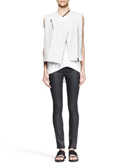 Helmut Lang Boxy Leather Biker Vest, Kinetic High-Low Tank & Coated Stretch Legging Jeans