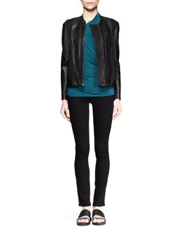 Helmut Lang Washed Leather Combo Jacket and Faint Twist-Neck Top