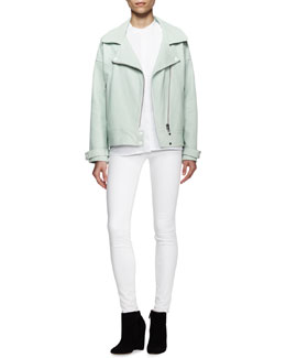 J Brand Ready to Wear Durham Leather Zip Jacket, Giles Sleeveless Flap-Panel Blouse & Maria High-Rise Skinny Jeans