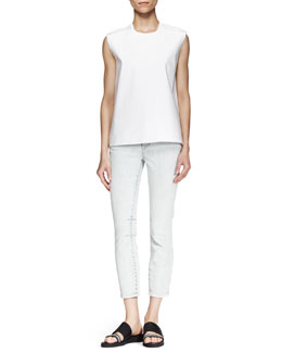 Helmut Lang Structured Poplin Zip Top and Cropped Skinny Jeans
