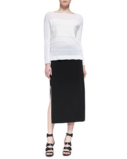 Helmut Lang Linear Degrade Pullover Top and Faint High-Slit Midi Skirt