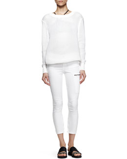 Helmut Lang Space Knit Pullover Sweatshirt and Cropped Zip-Pocket Moto Jeans