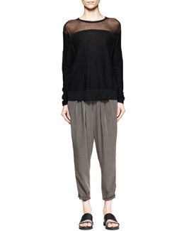 Helmut Lang Sheer-Panel Hem Sweater and Terra Pleated Cropped Pants