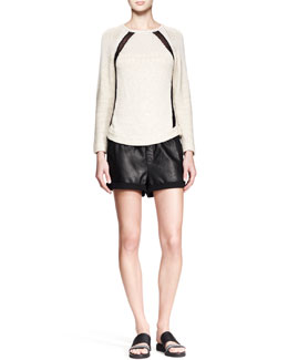 Helmut Lang Guyton Space-Dye Knit Sweater & Combo Leather Drawstring Shorts