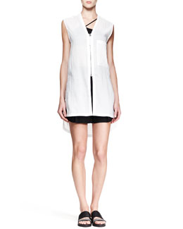 Helmut Lang Wire Sleeveless Zip Tunic Top and Cove High-Waist Shorts