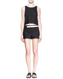 Helmut Lang Poplin Arced-Front Tank and Structured Shorts