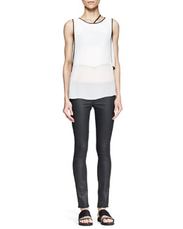 Helmut Lang Vanish Double-Layer Tank and Coated Stretch Legging Jeans