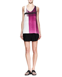 Helmut Lang Chroma Printed Jersey Tank and Cove High-Waist Shorts
