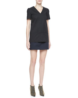 Theory Kaliste Short Sleeve Jersey Top & Keeta Stretch-Cotton Miniskirt, Black