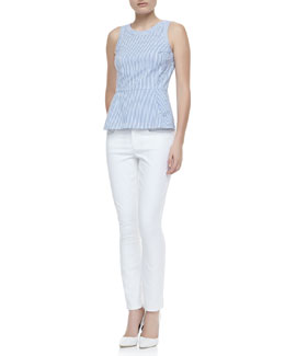 Theory Ballise Striped Sleeveless Peplum Top, Blue/White & Billy AW Five-Pocket Pants