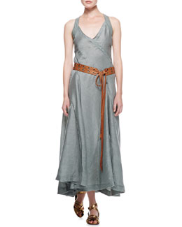 Donna Karan Long Sleeveless Jersey-Back Dress & Double-Grommet Leather Tie Hip Belt