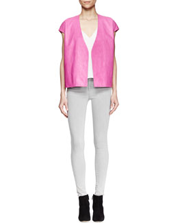 J Brand Ready to Wear Eberhard Cap-Sleeve Leather Vest, Lucy Sheer-Back Top & Mid-Rise Skinny Jeans