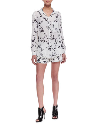 Boyfriend Button-Front Blouse & Floral-Print Drawstring Shorts