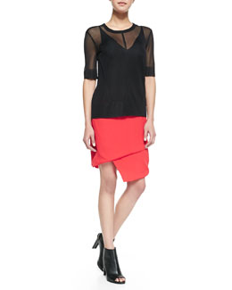 J Brand Ready to Wear Elsa Short-Sleeve Top, Lucy Sheer-Back Camisole & Maryse Asymmetric Tiered Skirt