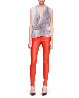 J Brand Ready to Wear Eugenie Monochromatic Blouse and Bartlett Leather Skinny Pants