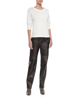 J Brand Ready to Wear Kira Ribbed-Knit Sweater & Chapman Leather Trousers