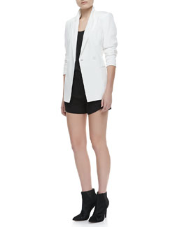 Theory Jannison Double-Breasted Jacket & Isaac Sleeveless Tank Top & Kaelin Silk Shorts