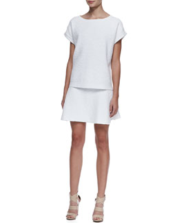 Theory Sorchan Short-Sleeve Jacquard Top & Doreene Jacquard Flared Skirt