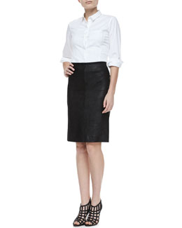 Theory Jolyon Bracelet-Sleeve Button Top & Golda 2L Leather Pencil Skirt