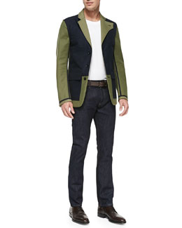 Bicolor Reversible Jacket, Cotton Jersey Tee & Dark Clean-Washed Denim Jeans