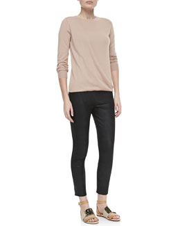 Theory Sempra Drape Long-Sleeve Sweater & Pidasha Cropped Leather Leggings