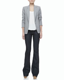 Theory Keto One-Button Long-Sleeve Jacket, Leonata Denim Wide-Leg Pants & Isaac Selection Silk Tank Top